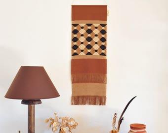 Handwoven wall hanging/ Cotton Linen Wool/ Weaving