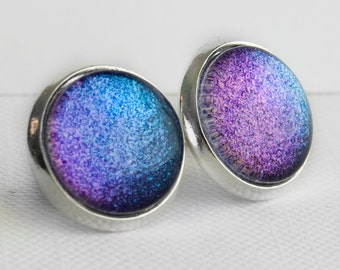 Dreamscapes Post Earrings in Silver - Purple and Blue Shimmery Colour Shifting Studs
