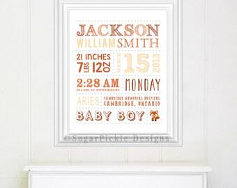 Fox Nursery Decor Wall Art, Fox Birth Announcement, Baby Shower Gift, Baby stats Art, Baby Subway Art, Birth Details, Fox Nursery Printable