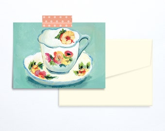 Tea cup vintage illustration greeting card