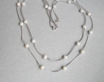 Pair of Graduated Floating Cultured Pearl Sterling Silver Vintage Necklaces