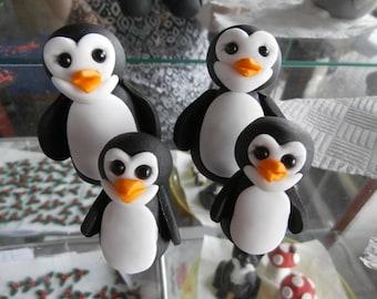 4 cute penguins, wedding, cake toppers, cake decoration, birthday,edible, fondant, sugar paste, animals
