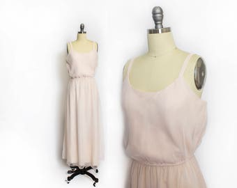 Vintage 1970s Dress - Chiffon Pale Pink Full Length Sleeveless I.Magnin Gown - Small