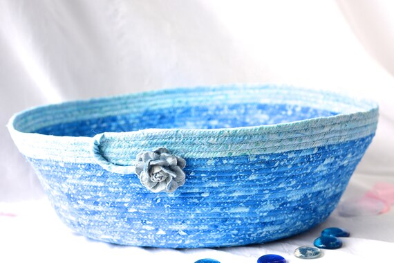 Blue Storage Basket, Handmade Toy Organizer, Hand Coiled Pet Bed, Blue Fabric Basket, Modern Cat Bed, Cottage Chic Fabric Bowl