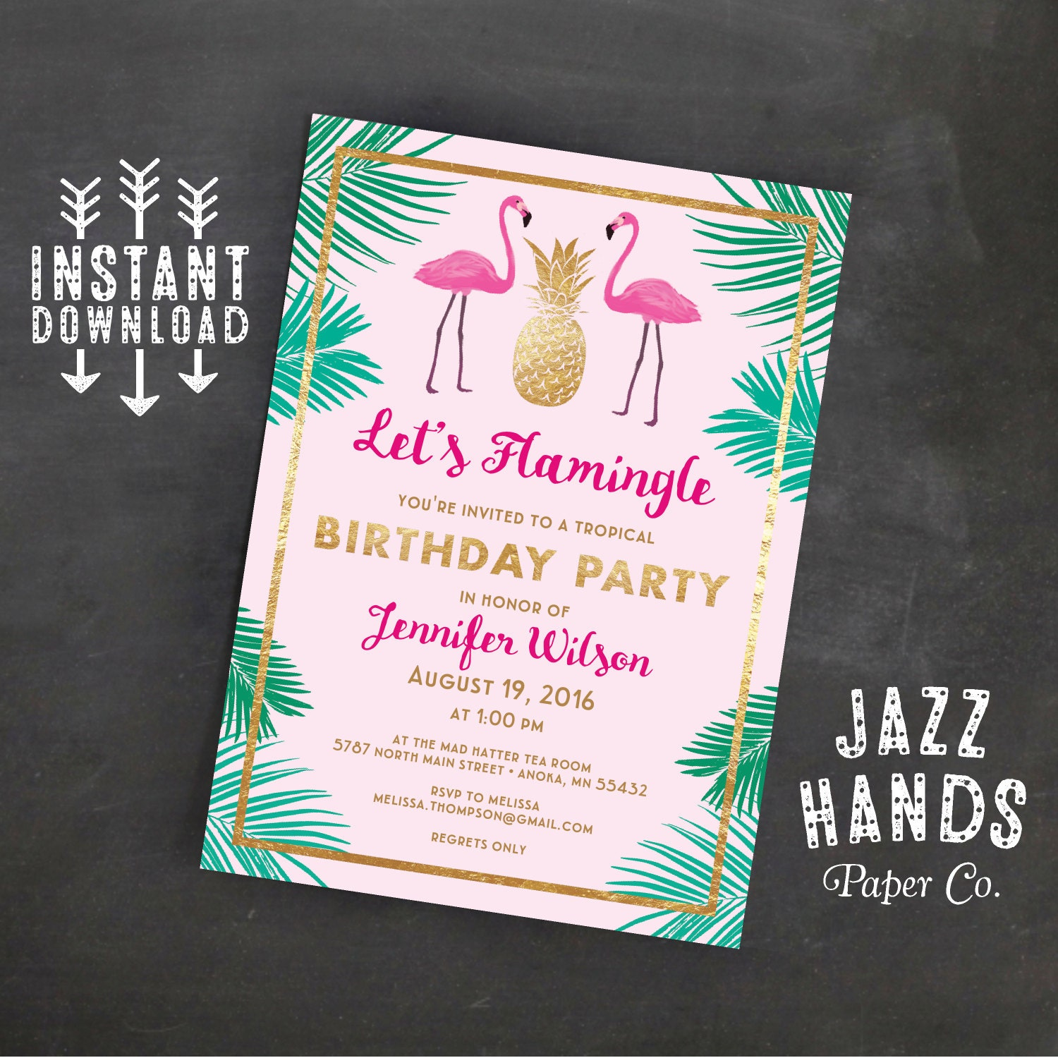 Lets flamingle printable birthday invitation template zoom filmwisefo Image collections
