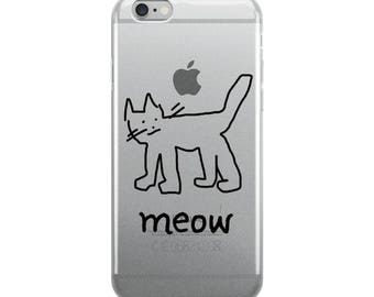 Whimsical Hand-Drawn Meow Cat iPhone Case