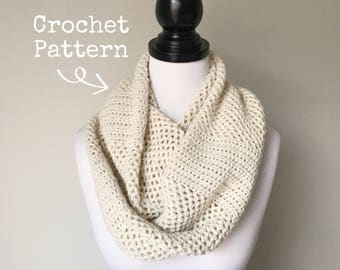 Crochet Pattern - The Zoe Scarf - Fluted Mesh Circular Infinity Scarf - Instant PDF Download