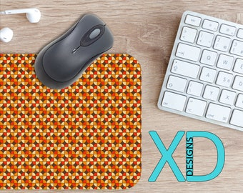 Retro Tulip Mouse Pad, Retro Tulip Mousepad, Flower Rectangle Mouse Pad, Orange, Flower Circle Mouse Pad, Retro Tulip Mat, Computer, Vintage