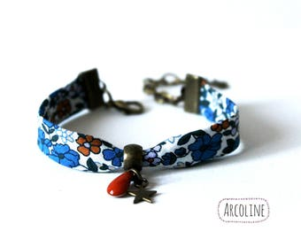 Bracelet liberty blue enameled sequin