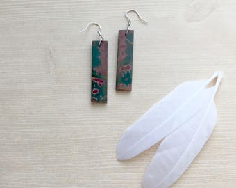 River Jasper Rectangle Shape Earrings in Sterling Silver