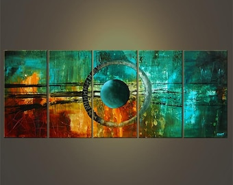 "60"" Large Abstract Modern Acrylic Painting Abstract Modern Art Turquoise Teal Original Art  MADE-TO-ORDER"
