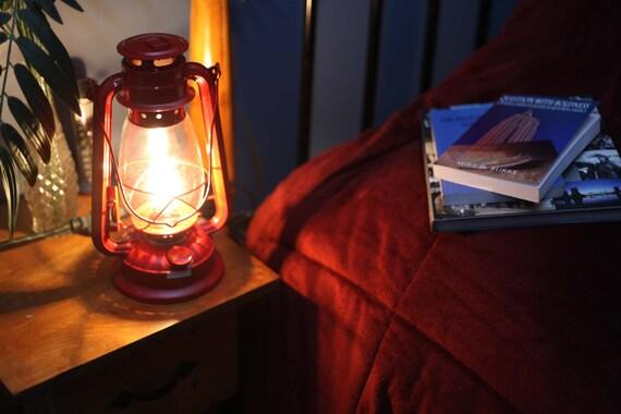 Electric Lantern Table Lamp, RED LANTERN, Electric Hurricane Lantern, Night  Light, Rustic Lantern Light, Table Lamp