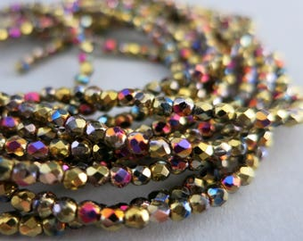2mm Purple Fire Round Czech Beads, Faceted Fire Polished, Made in Czech Republic, Strand of 50