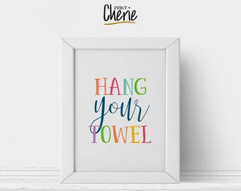 Hang your towel printable, Bathroom printable wall art for kids, DIY bathroom decor, Hang your towel bathroom rules print