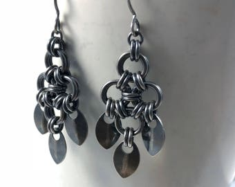 Tiamat Earrings Oxidized Sterling Silver Chainmaille Scales
