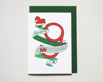 9th anniversary card * anniversary card * friends anniversary * wedding anniversary * wife husband * size A6 comes with green envelope