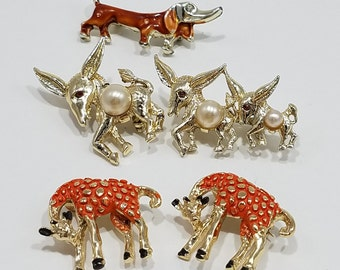 Animals on Parade! Simply Charming Petite Pins of Giraffes, Donkeys, and a Dachshund thrown in!