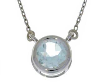 Natural Aquamarine Round Bezel Pendant .925 Sterling Silver