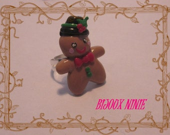 Ring gingerbread boy Fimo cookie