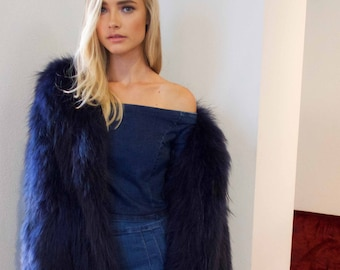 Exotique Long Shaggy Coat in Midnight