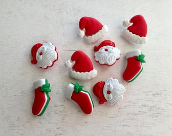 """Christmas Buttons, Santa, Hats and Stockings, """"HO HO HO"""" Novelty Button Package by Buttons Galore, #4785, Shank Back Buttons, Embellishments"""
