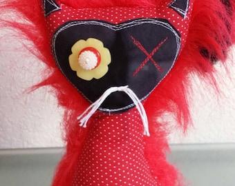 """Dead Cat """"Starlight"""" creepy cute handmade plush circus punk art doll soft sculpture Monster Halloween sourpuss"""