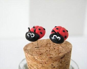 Ladybird Earrings - Polymer Clay Ladybug Stud Earrings