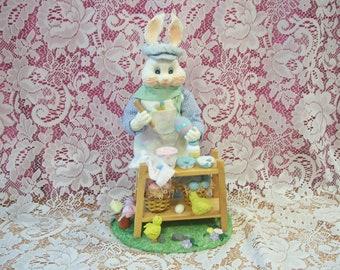 White Rabbit Painting Easter Eggs Figurine