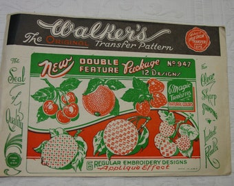 Vintage Walker's Embroidery and Magic Transfers Fruit, Unused