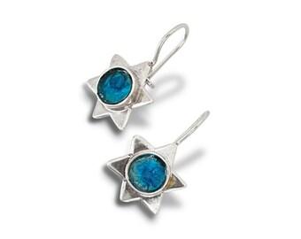 Blue Roman Glass Earrings, 925 Silver Star of David Earrings, Roman Glass Magen David Earrings, Judaica Holy Land Earrings, FREE SHIPMENT
