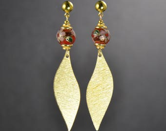 Handcrafted earrings, brushed gold fins, cloisonné beads, pierced earrings