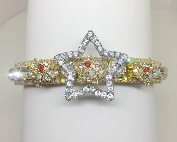 Cutie Pie Pet Collars TM ~Gold & Stars~ Aurora Crystal Diamante Rhinestone PU Leather Pet Dog Cat Collar USA