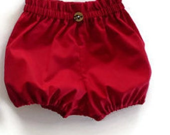 Red bloomers - baby bloomers - girls bloomers - bubble shorts - red pants - baby pants - toddler pants - nappy cover - diaper cover - baby