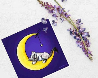 Ragdoll Cat Art Print Kitten Moon Star