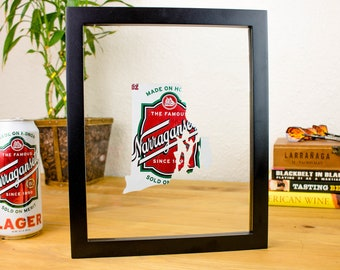 Narragansett Beer Can Rhode Island Art! Handcut Narragansett Beer Can cut into the shape of Rhode Island in a floating frame.