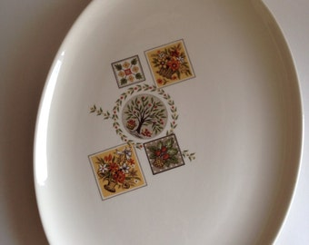 Taylor Smith Taylor Vintage 1950s Ever Yours Brocatelle large platter Early American colonial