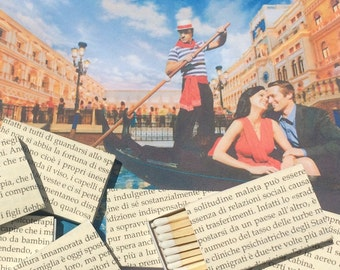 8 Italian Foreign Language Book Page Wrapped Matchbox Wedding Favors Italy Rome Venice Gondola