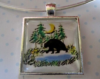 Black Bear Pendant or Scarf Slide, scarf jewelry, scarf ring