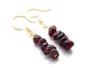 Garnet Gemstone Stacks . Earrings