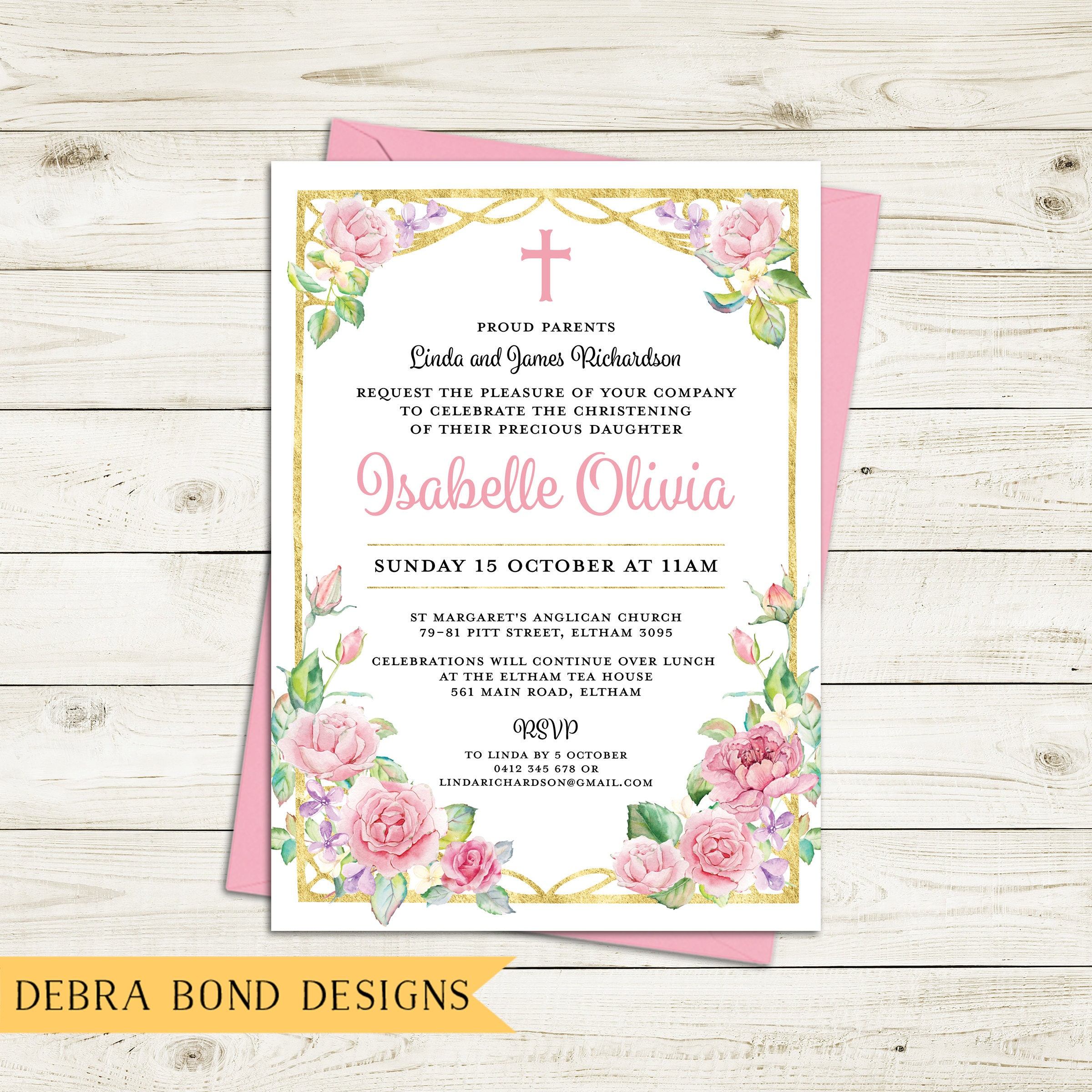 Christening invitation girl Baptism invitation girl naming