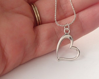 Heart Necklace, Sterling Silver Heart Necklace, Valentine Gift, Heart Jewelry, Open Heart, Heart Pendant, Heart Necklace Silver, Love