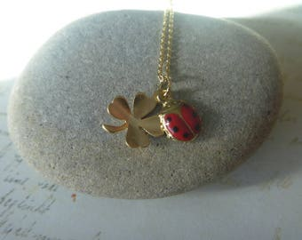 good luck Necklace: four leaf clover