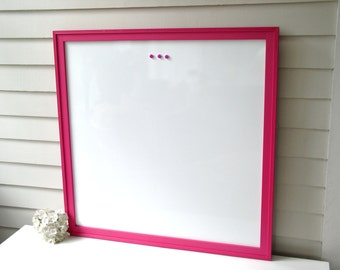 Executive WHITEBOARD Dry Erase - Extra Large Magnetic Bulletin Board - 32x32 Sophisticated Office Memo Board Handmade Wood Frame Hot Pink