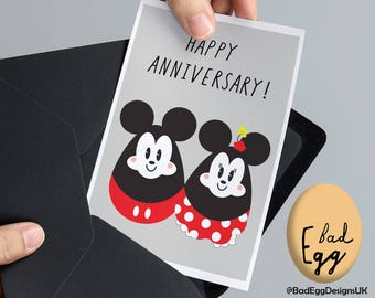 Mickey & Minnie Mouse Inspired Wedding Anniversary Card by BadEggDesignsUK - Cute Disney Inspired Greetings Card by Bad Egg Designs UK