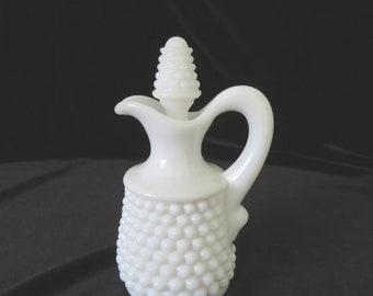 Fenton Milk Glass Hobnail Oil Bottle