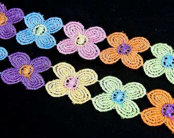 Daisy Lace Trim x 1m Flower Sewing Dressmaking Edging Multi Coloured 30mm LC5