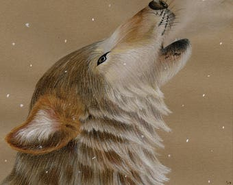 Wolf in Snow Original Drawing