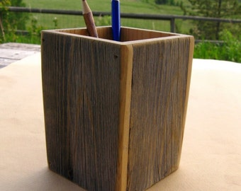 Barnwood PENCIL HOLDER handmade from reclaimed weathered wood - rustic refined