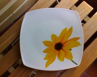Three Square Sunflower Tea Plates - vintage French plates