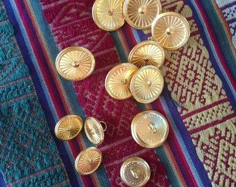 12 Vintage gold starburst buttons c1960s Waterbury
